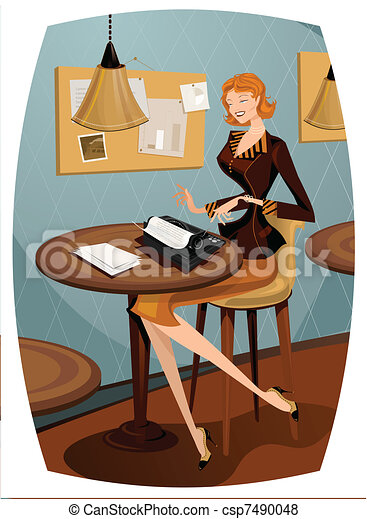 Retro woman typewritting - csp7490048