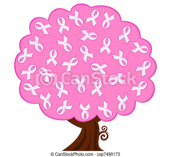 vector illustration of a breast cancer pink ribbon tree - csp7490173