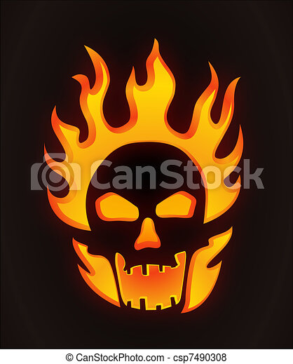 Halloween carved skull - csp7490308
