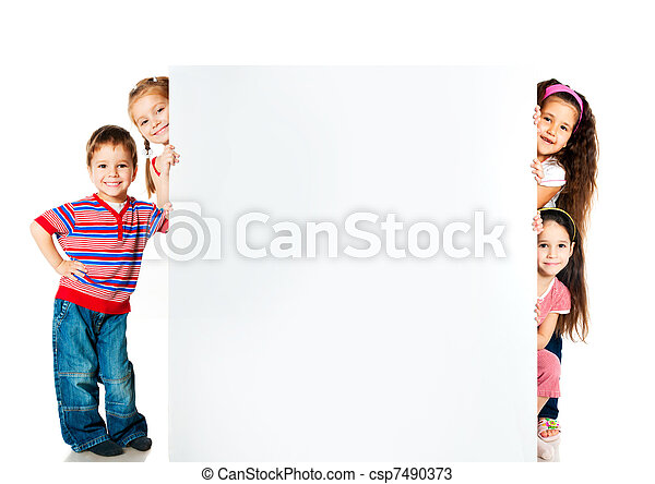 kids beside a white blank - csp7490373
