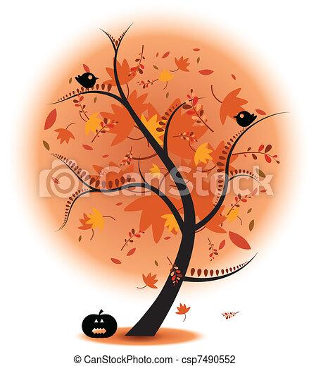 Autumn Tree Stock Illustration - csp7490552