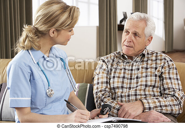Senior Man Talking To Health Visitor At Home - csp7490798