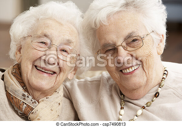 Two Senior Women Friends At Day Care Centre - csp7490813