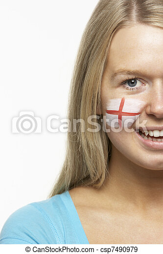 Young Female Sports Fan With St Georges Flag Painted On Face - csp7490979