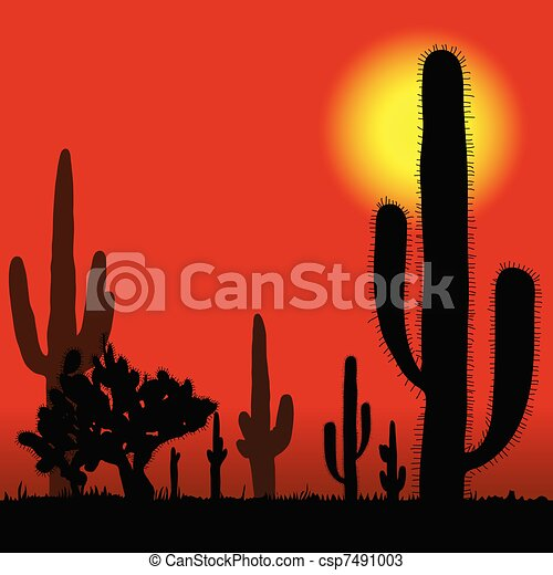 cactus in desert vector illustration - csp7491003