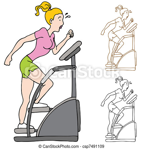 Woman Exercising on Stairclimber Machine - csp7491109