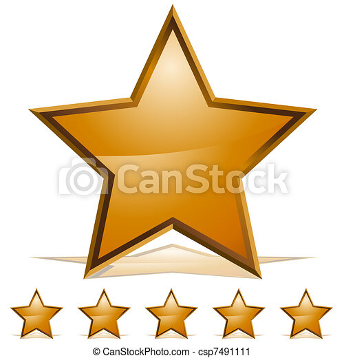 Five Gold Stars Rating Icon - csp7491111