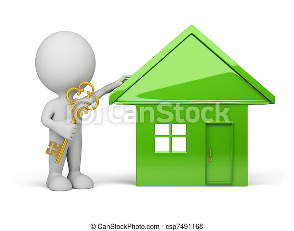 3d person - house and a golden key - csp7491168