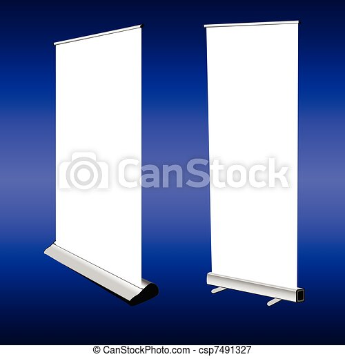 roll up banner on blue background - csp7491327