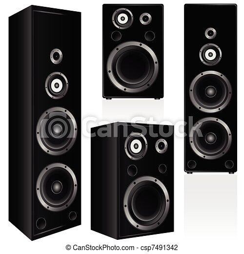 speaker in black color vector illustration - csp7491342