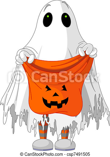 Ghost trick or treating  - csp7491505
