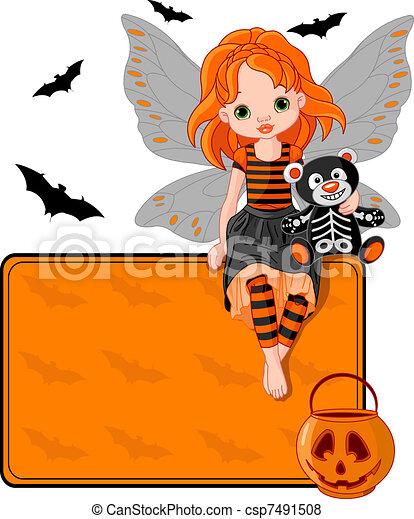 Little Halloween Fairy place card - csp7491508