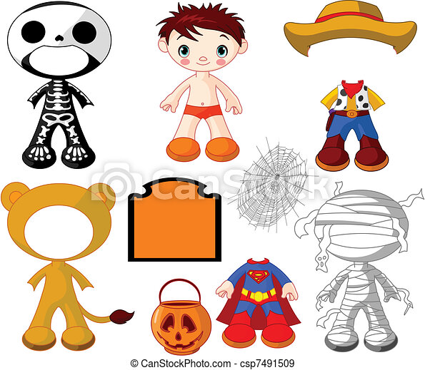 Boy with costumes  for Halloween P - csp7491509