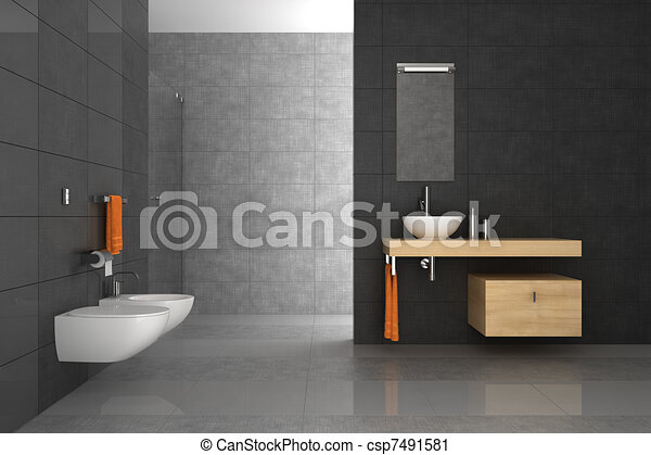 Clipart van badkamer hout tiled meubel tiled badkamer met hout csp7491581 zoek - Badkamer turkoois ...