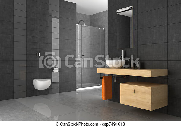 tiled bathroom with wood furniture - csp7491613