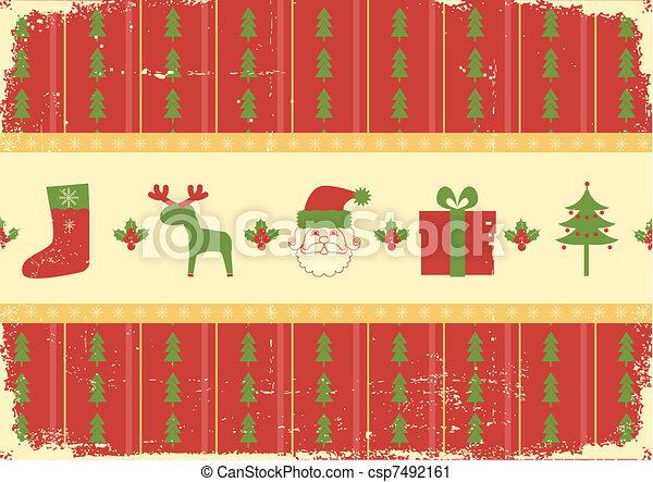 Vintage christmas background card for holiday - csp7492161