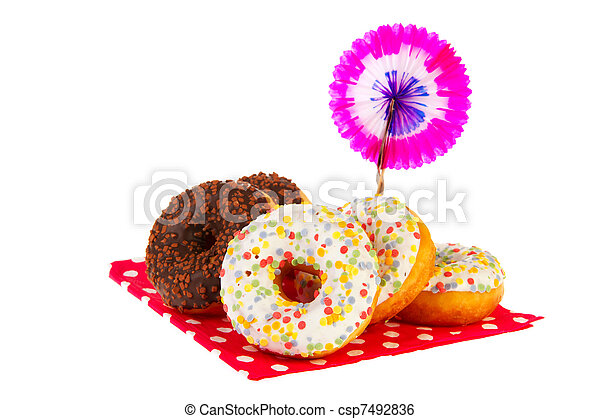 Birthday donuts with colorful glaze - csp7492836
