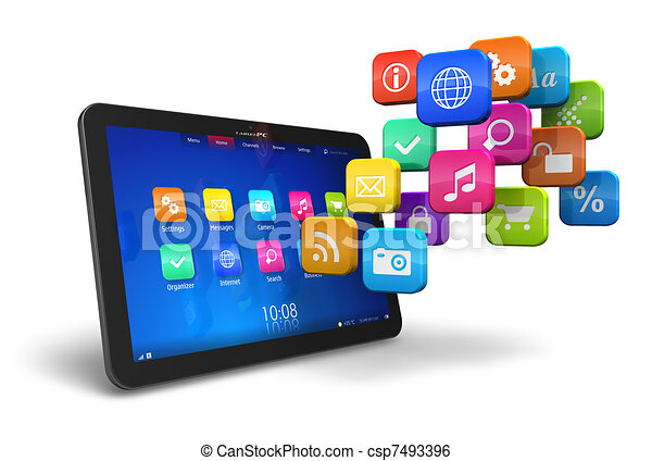 Tablet PC with cloud of application icons - csp7493396