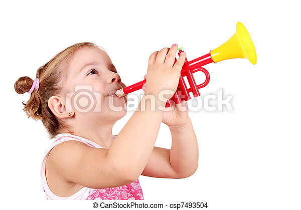 little girl play trumpet - csp7493504