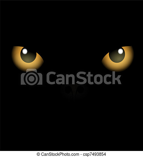 black background yellow eyes - csp7493854
