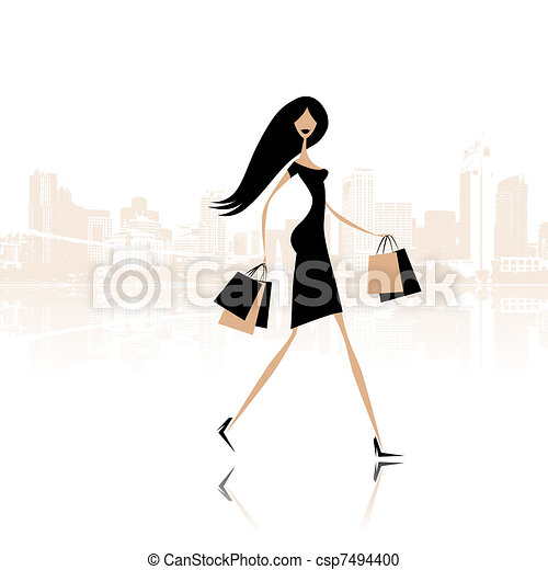 Fashion girl with shopping bags on the city street - csp7494400