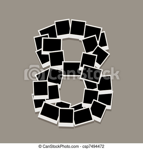 Number eight made from photo frames, insert your photos - csp7494472