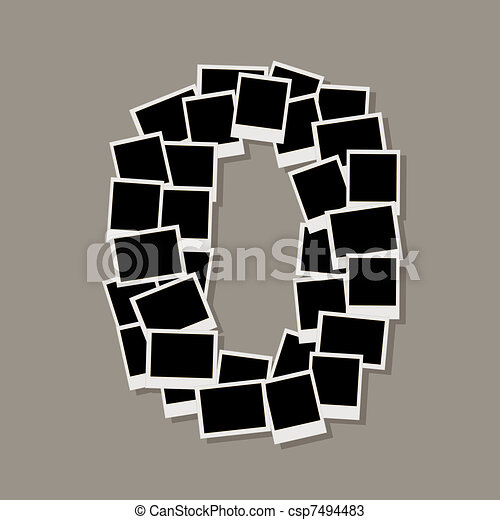 Number zero made from photo frames, insert your photos - csp7494483
