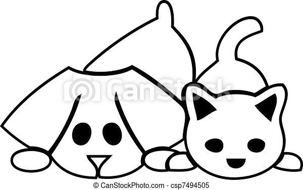 Clipart vettoriali di cuccioli gatto cane logotipo for Cane disegno facile