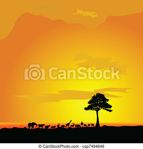 animal in desert and tree black silhouette - csp7494649