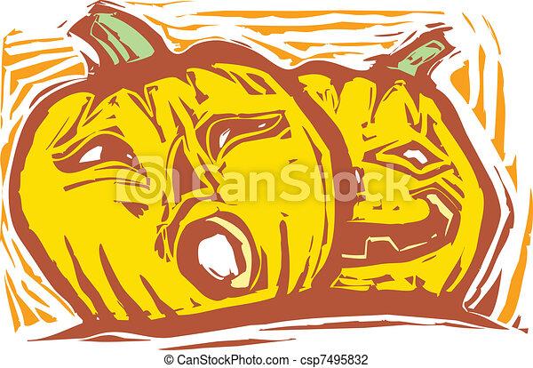 Two Jack-o-lanterns - csp7495832