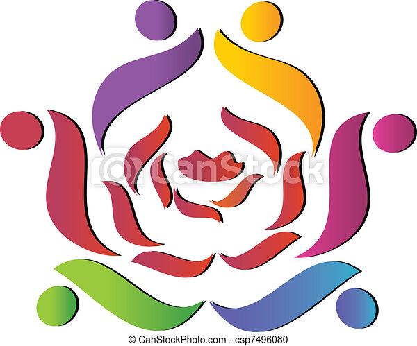 Team helping rose logo - csp7496080