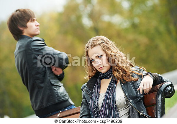 young couple in stress relationship  - csp7496209