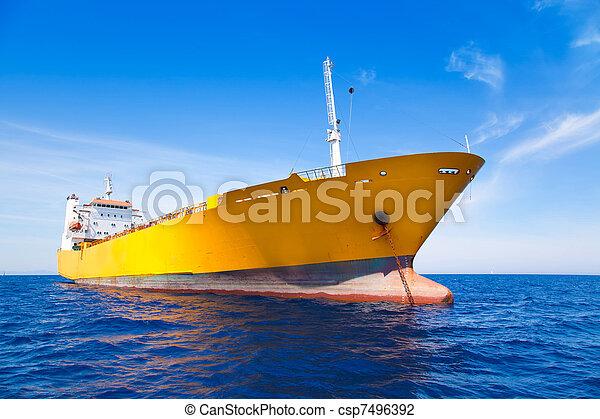 Anchor cargo yellow boat in blue sea - csp7496392
