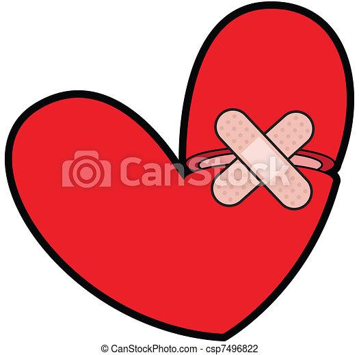 Broken Heart With Bandaid - csp7496822