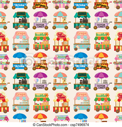 cartoon market store car seamless pattern - csp7496974