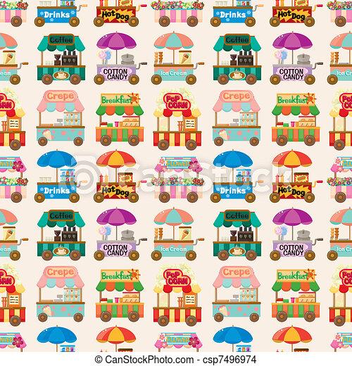 cartoon market store car seamless pattern - csp7496974