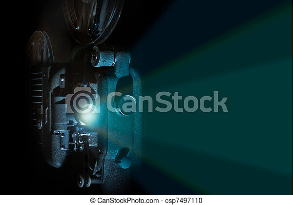 Vintage 8mm film projector light beam - csp7497110