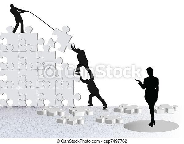 showing achievement of business success via team constructing on puzzle - csp7497762