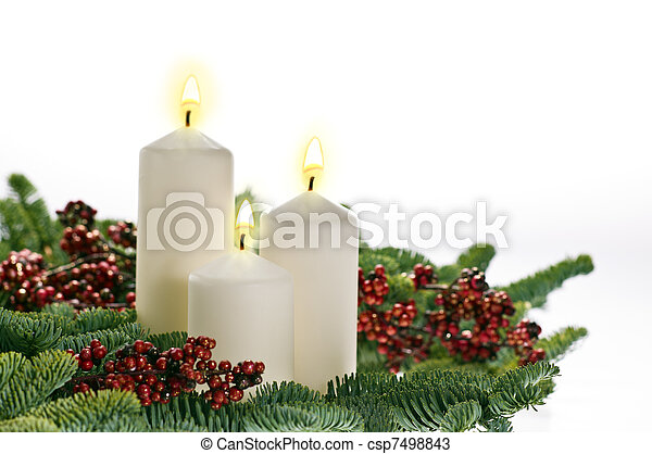 Three candles in advent setting  - csp7498843