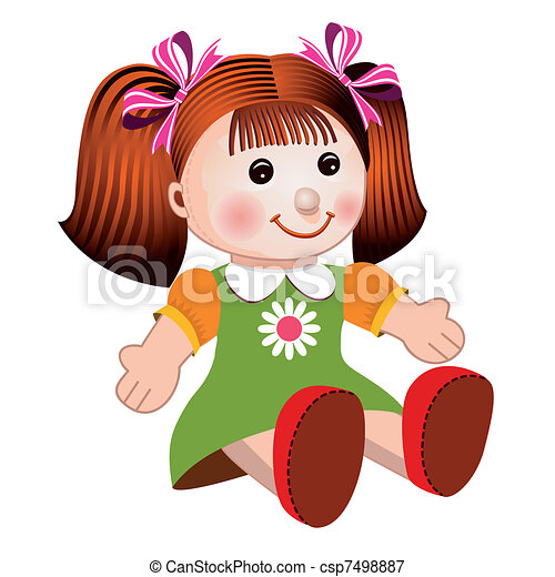 Girl doll vector illustration - csp7498887