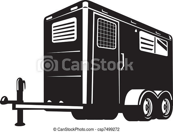 horse trailer viewed from low angle - csp7499272