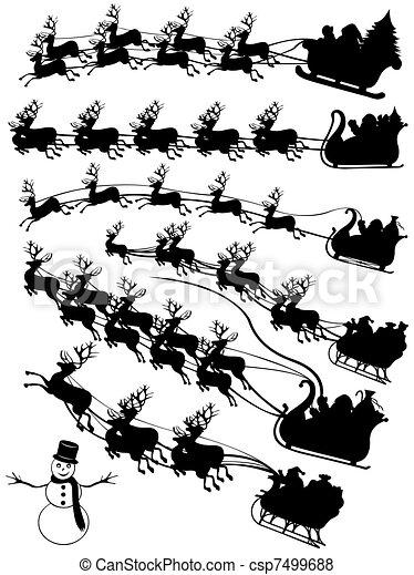 Santa Claus driving in a sledge - csp7499688