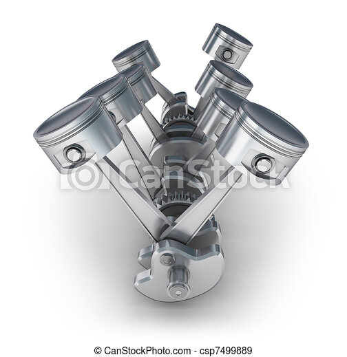 V8 engine pistons - csp7499889