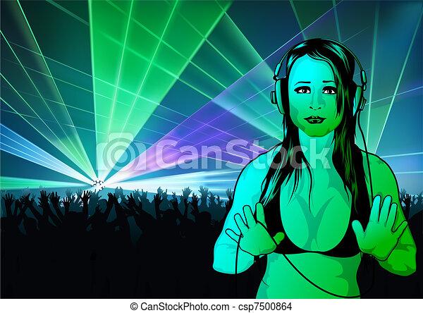 Girl DJ Wallpaper - csp7500864