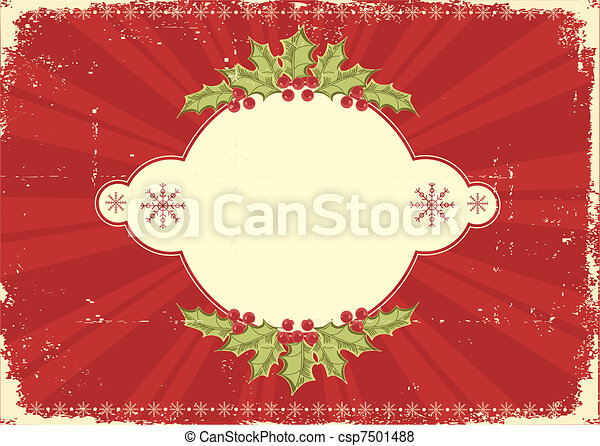 Red vintage Christmas card for text - csp7501488