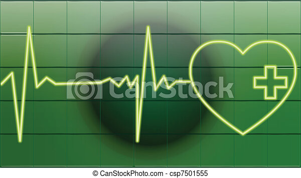 heart beats of a healty heart on green - csp7501555
