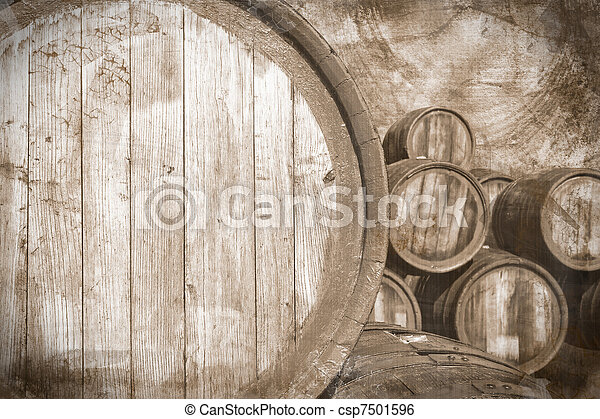 Old wine casks in vintage stile, background - csp7501596