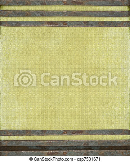 rusty metal bars on aged canvas - csp7501671