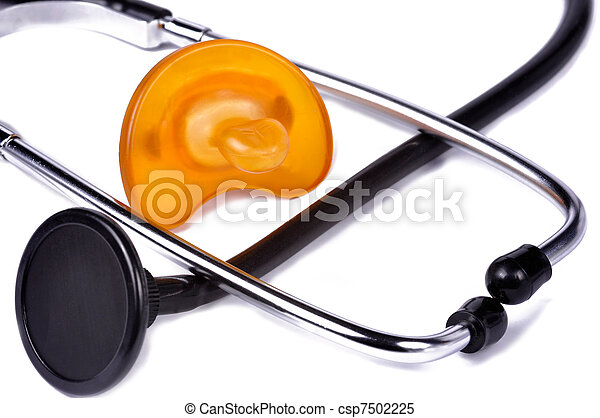 Pacifier and Stethoscope - csp7502225