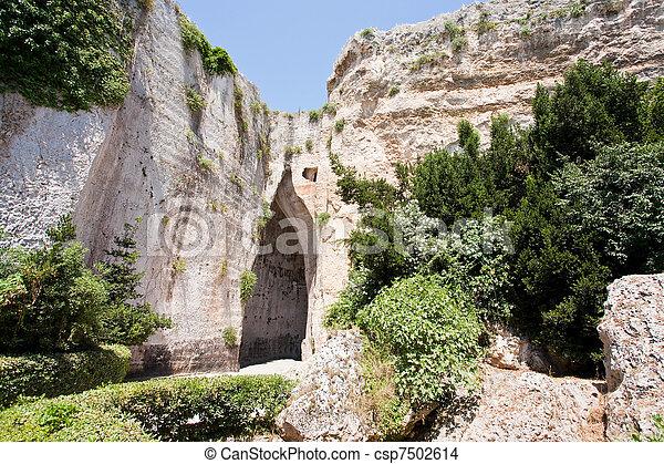 cave Ear of Dionysius in Syracuse, Italy - csp7502614